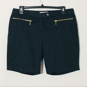 Michael Kors Bermuda Shorts Zipper Pockets Black